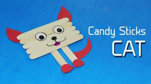 Kids Craft Icecream Stick Fun Crafts For Kids Cat Face On Popsicle Stick