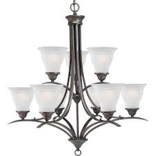 trinity 9 light antique bronze chandelier with etched glass