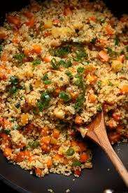 quinoa veggie fried rice with egg and scallions