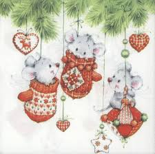 Decoupage Paper Napkins of Christmas Mice Playing in Tree – Chiarotino