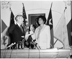 """Texas State Library and Archives Commission on Twitter: """"#TBT from the  State Archives: Swearing-in of Myra McDaniel, Secretary of State, by Gov.  Mark White, September 18, 1984. McDaniel was the first African"""