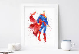 superman poster watercolor superhero wall art printables dc comics marvel nursery print kids bedroom baby