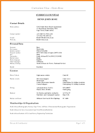 Curriculum Vitae Template Free Download South Africa Resume