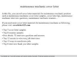 Sample Mechanic Resume Cover Letter Maintenance Mechanic Cover