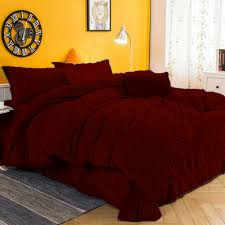 details about special arrival 5 pc twin dark red pintuck velvet duvet cover set us