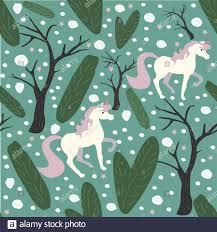 Unicorn Seamless Pattern. Green ...