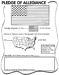 Small Picture Pledge of Allegiance fill in the blank and coloring page crayola