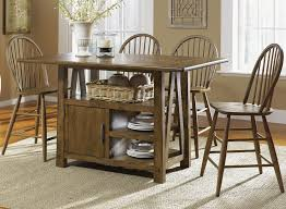 Bar Table And Chairs Set 5 Piece Island Pub Table And Windsor Back Counter Chairs Set By