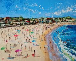 bondi beach original oil painting framed painting 40x50x0 2 cm