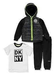 Dkny Baby Boys Fleece Contrast 3 Piece Pants Set Outfit
