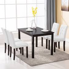 breakfast furniture sets. Amazon.com - Mecor 5 Piece Dining Table Set Wood Table/4 Leather Chairs Kitchen Room Breakfast Furniture (White) \u0026 Chair Sets K