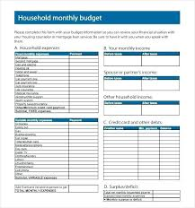 monthly household expenses sheet free family budget spreadsheet household budgeting template family