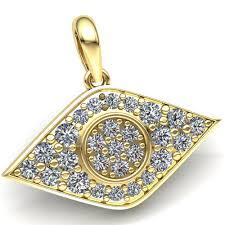 details about natural 0 75carat round cut diamond men s cer evil eye pendant 14k gold