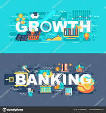 Bank Graphic Design Banking Growth Set Flat Concept Banners Slogan Website