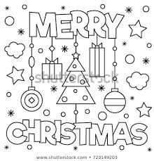 merry christmas coloring page.  Merry Merry Christmas Coloring Page Vector Illustration To Christmas Page R