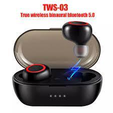 TWS 03 taşınabilir kablosuz Bluetooth 5.0 kulaklık HiFi Stereo ses kulak  spor kulaklık Bluetooth Kulaklık & Kulaklıklar