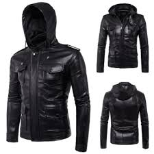 plus size fashion new men s hooded jacket black hooded slim motorcycle biker faux leather jackets malaysia