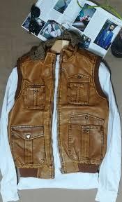 half arm leather camel jacket