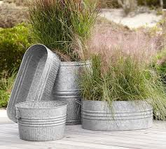 eclectic galvanized metal planters