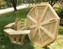 captivating round picnic table plans wooden with benches concept furniture for attached circular bench full image red metal legs large folding pub mini