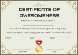 Certificate Of Awesomeness Template Certificate Of Awesomeness Word Template Certificate Of