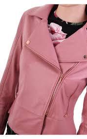 ted baker womens lizia minimal leather biker jacket dusky pink
