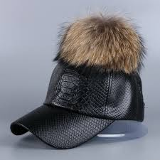 mink and fox fur ball winter hat for women pu leather pompom luxury baseball cap for