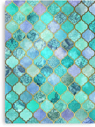 Moroccan Tile Pattern Inspiration Cool Jade Icy Mint Decorative Moroccan Tile Pattern Canvas Prints