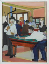 "IVAN LARSON. ""Sjömanskrog, Dortrecht, Holland"", oil canvas on panel, signed  and dated 1954. Art - Paintings - Auctionet"