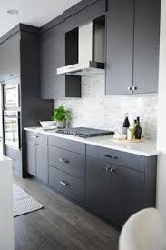 Small Picture Modern gray kitchen features dark gray flat front cabinets paired