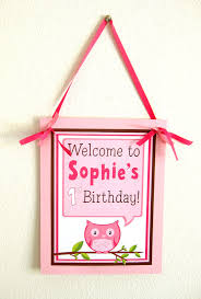 Pink Owl Party Sign Decoration Personalized Party Welcome Sign