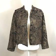 Details About Chico S Brown Floral Gold Cropped Button Up Tapestry Jacket Size 2 Large