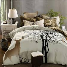 svetanya tree deer cartoon print thick bedding set sanding cotton bedlinen queen king size winter duvet cover set comforter sets black and white duvet