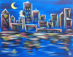 how to paint neon dallas skyline