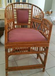 Brighton BAMBOO Rattan Chair Vintage Armchair Chinoiserie Faux Bamboo Accent 1 Of 4