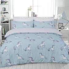 paintly unicorn animal print duvet set pillowcase blue bedding