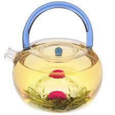 contemporary blue rainbow 40 oz glass teapot