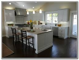 White Shaker Kitchen Cabinets Dark Wood Floors Remodel Throughout