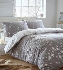 galaxy grey flannelette duvet cover set