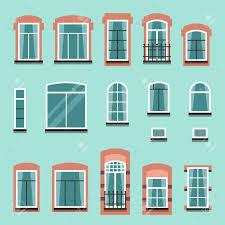 Set Aus Kunststoff Oder Holz Fensterrahmen Mit Fensterläden