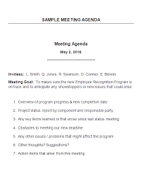 Sample Of Agenda Sample Meeting Agenda With Explanatory Notes Work To The