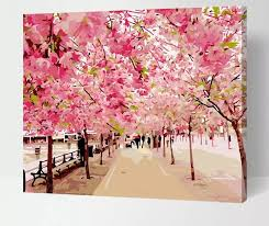 frameless pictures painting by numbers cherry blossom flowers digital oil painting on canvas landscape diy by