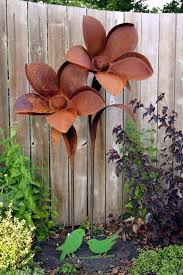 impressive on metal garden flowers outdoor decor rusty metals and flower stakes large like this item metal flower garden stakes
