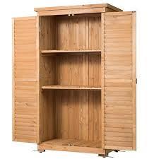 outdoor garden wood storage cabinet