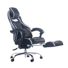 chair with footrest. merax racing style executive pu leather swivel chair with footrest and back support reclining (gray