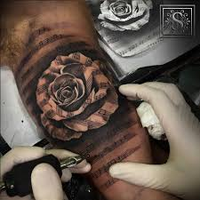 Black And Grey Style Music Staff Rose Tattoo Artist Sergio