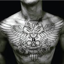 chest tattoo designs.  Tattoo Chest Owl With Skull And Roses Male Tattoo Design Inspiration Designs Next Luxury