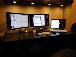 incredible office desk setup ideas laptop desk setup with crisp warm potlights and a clean dual