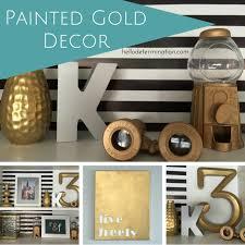 gold spray paint decor and shelf refashion