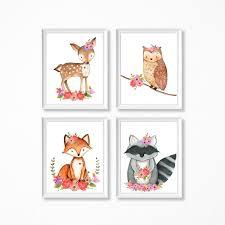 animal nursery art modern prints cute